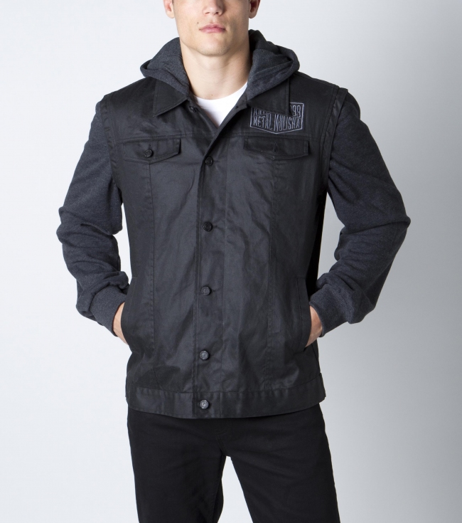Motorsports Metal Mulisha Mens Tasked Jacket.  65% Cotton / 35% viscose.  Wax coated worker twill; heathered fleece at sleeves and hood with logo buttons; self appliqued patch; and back clip label. - $47.99