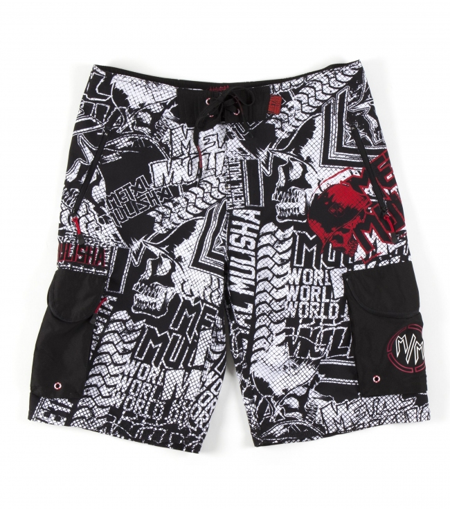 "Motorsports Metal Mulisha Technical Drinking Boardshorts.  100% Poly Anti-moss. 23"" outseam; zip fly closure. Able to carry a whole 6-pack of beers in specialized side cargo beverage pockets and upper front zip pockets. Includes Mulisha logo bottle opener in pocket; printed side waistband reinforcements for the extra beverage weight; and MM logo flag label. - $32.99"