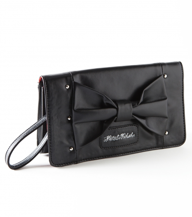 Motorsports Metal Mulisha maidens black faux leather wallet with center front bow detail; embroidered logo patch; detachable strap; and printed satin lining.8''W x 4.5''H - $15.99