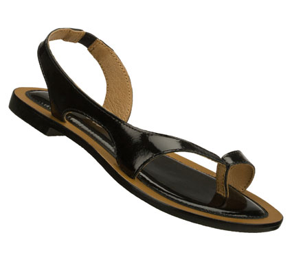 Entertainment Prettify your warm weather looks instantly with the SKECHERS Cali Grand Glam sandal.  Shiny patent finish leather upper in a flat soled heel sling dress casual toe ring thong sandal with stitching accents. - $49.00