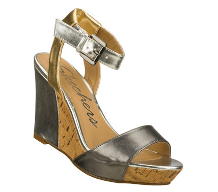 Entertainment Live the high-rise life in style with the SKECHERS Cali Sky Scrape - Roof Top sandal.  Smooth faux leather and faux suede upper in a wedge heeled dress casual ankle strap slide sandal with stitching accents. - $55.00