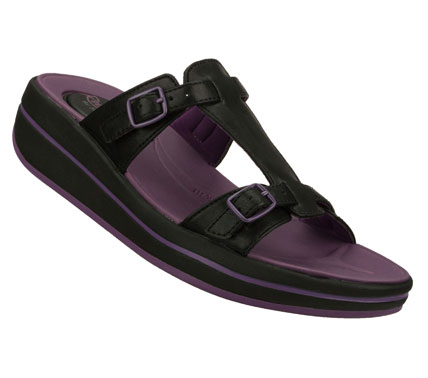 Fitness Blissful comfort and easygoing style combine in the SKECHERS Relaxed Fit: Upgrades - On the Run sandal.  Smooth faux leather upper in a casual comfort slide sandal with stitching accents and adjustable buckles. - $45.00