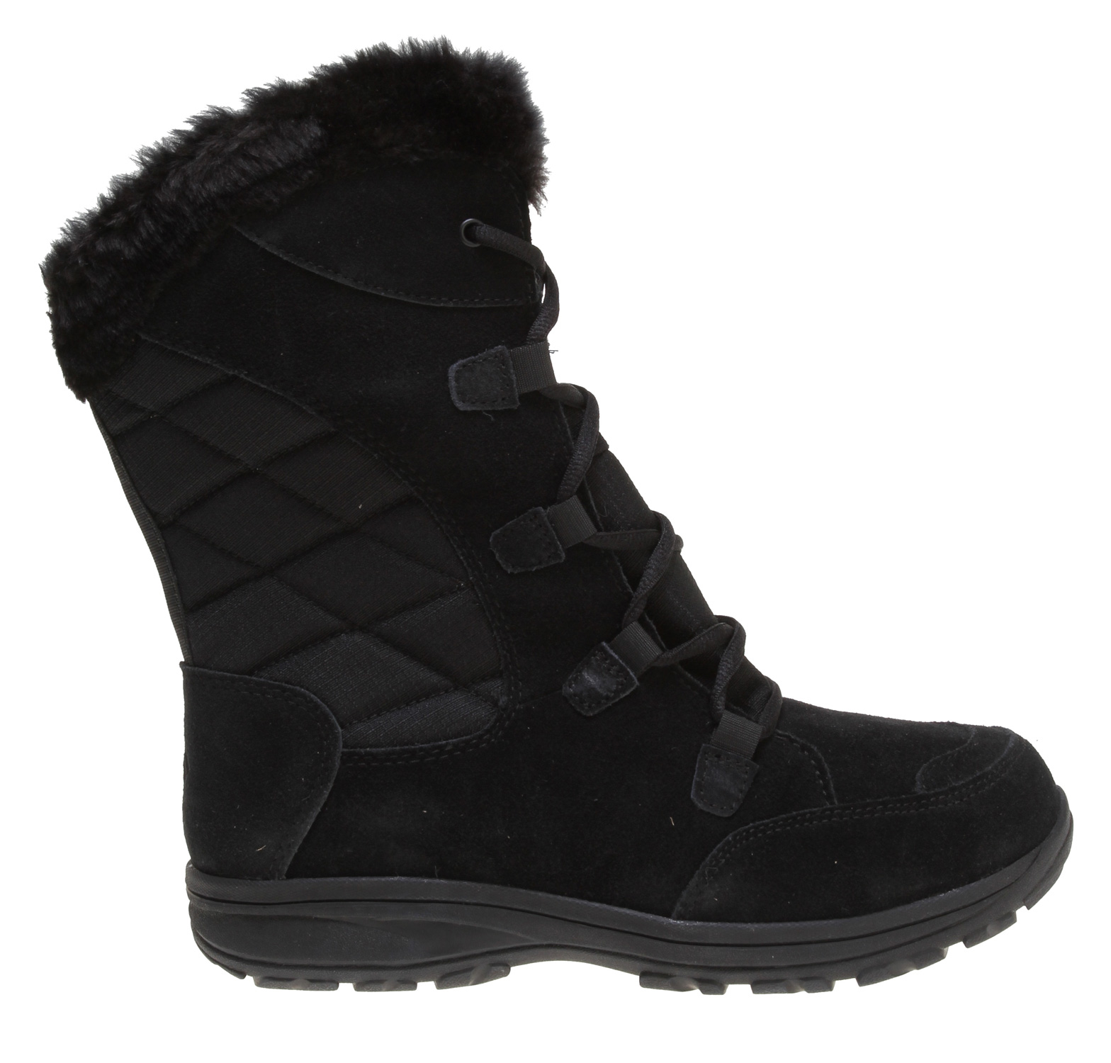 A value packed waterproof winter boot.Key Features of the Columbia Ice Maiden Lace Boots: Upper: Waterproof leather and textile. Faux fur collar for add warmth and soft fleece lining Insulation: 200gr insulation. Rated -25F/-32C Footbed: EVA for comfort and support Shank: Molded nylon shank provides torsional rigidity and support Midsole/Outsole: Non-marking Omni-Grip rubber compound with a winter specific lug tread pattern for maximum traction - $79.95