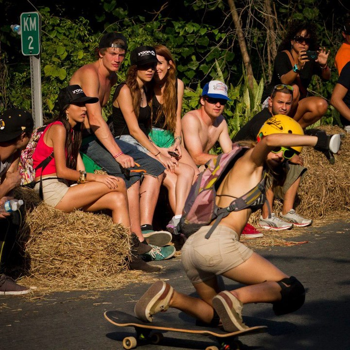 Skateboard Katy Nicole Torres tech sliding at the Guama DH Slide Jam in Puerto Rico Katy belongs to the Porta del Sol Longboard Crew- West side of PR be full of feisty rollin' mamasitas! ;D  check them out: https://www.facebook.com/portadelsolcrew/info  Picture: Jon