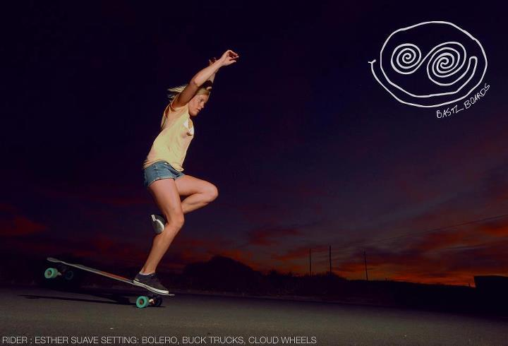 Skateboard STYLE! Longboard Girls Crew Germany's Esther Suave, one foot nose manual.  Pic. Jan Kechel
