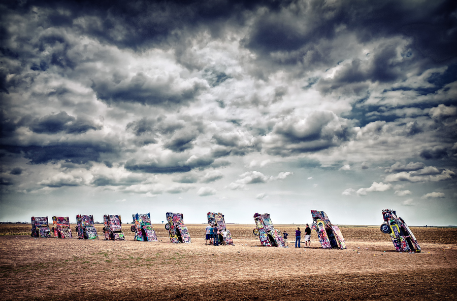 Auto and Cycle Cadillac Ranch is a public art installation and sculpture in Amarillo, Texas