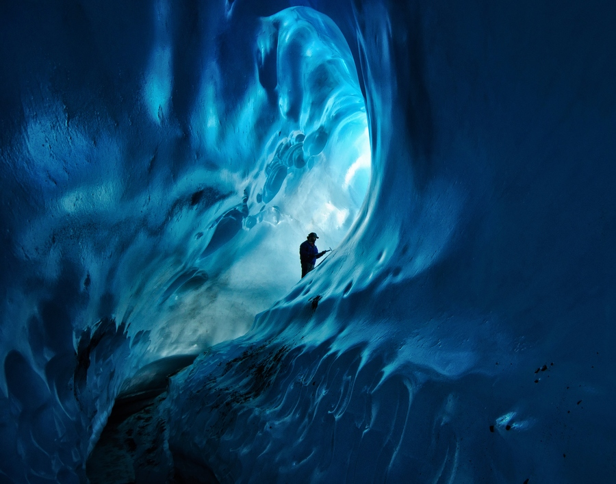 Camp and Hike Ice Cave in Root Glacier, Wrangell-St.Elias Nat' Park, Alaska