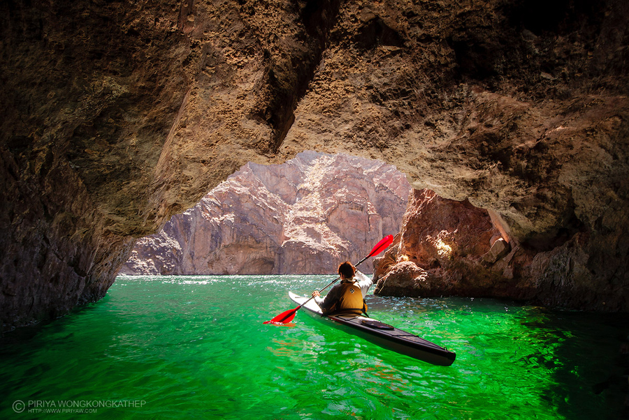 Kayak and Canoe Kayaking in The Emerald Cave in Colorado river, Lake Mead area
