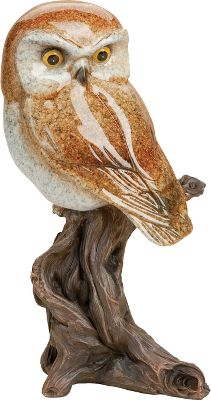 Theres nothing like the stare of an all-seeing owl. This richly detailed stone-cast sculpture is made of hand-cast resin to mimic the smooth look and solid feel of the original stone artwork. Finished with a Fusion reactive color process that brings out the deep shine and luster of the color, while adding a hand-polished look.Dimensions: 9H x 4.75W. Type: Figurine. - $38.99