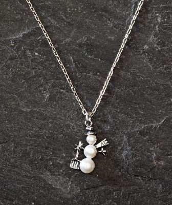 Entertainment Pearls never get a frosty reception when received as a gift, especially when they're arranged in a holiday snowman theme. This fun necklace features freshwater pearls set in sterling silver with a sterling silver chain. 18L chain with 3/4L charm. - $29.99