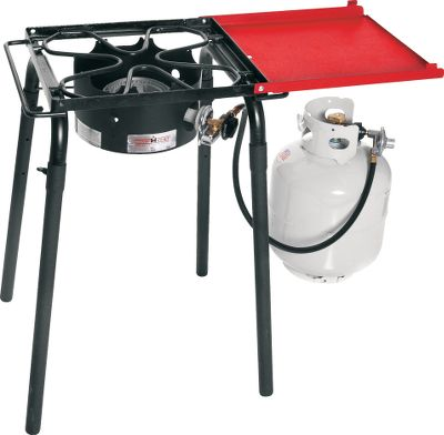 Camp and Hike The cast-aluminum and rustproof burner delivers 30,000 BTU of portable cooking power. Folding shelf provides a convenient preparation area. Square-top surface area holds single-burner accessories. Adjustable, removable legs raise stoves top up to 30. Durable steel construction will last for years. Includes regulator and 3-ft. hose. Cooking area: 14L x 16W. Height: 30. Weight: 21 lbs. - $109.99