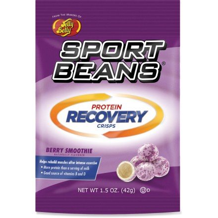 Camp and Hike After a long day on the trail or a tough workout in the gym, the Jelly Belly Sport Beans Recovery crisps are the perfect snack to satisfy hunger and help rebuild muscles. - $2.00