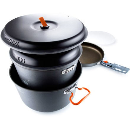 Camp and Hike Throw on your chef hat and make a meal that rivals restaurant cooking with the large GSI Outdoors Pinnacle Base Camper cookset. - $76.93