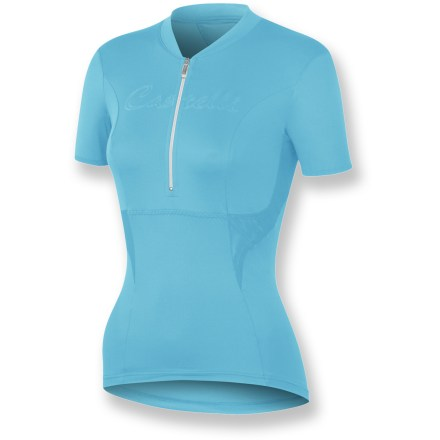 Fitness Featuring a snug fit that's not too tight and soft, skin-pleasing fabric, the Castelli Dolce women's bike jersey adds a touch of luxury to your cycling wardrobe. SOFT-FLEX nylon/elastane blend wicks moisture away from skin and dries quickly for continued comfort on and off the bike. Mesh panels on sides and back enhance breathability and speed moisture transfer so you stay cool and dry. Half-zip opening provides immediate ventilation. 3 elastic rear pockets easily store small items such as energy gels, spare tubes, phone or small media player. Closeout. - $15.73