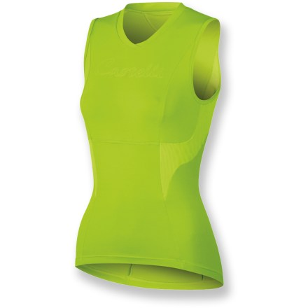 Fitness Soft, comfortable and ready to keep pace with long days in the saddle or short rides around town, the Castelli Dolce sleeveless women's bike jersey is built for all-day comfort. SOFT-FLEX nylon/elastane blend feels soft against skin, wicks moisture and dries quickly for continued comfort on and off the bike. Mesh panels on sides and back enhance breathability and speed moisture transfer so you stay cool and dry. Sleeveless design ensures ventilation and full range of motion. Rear zippered pocket holds small essentials such as ID, credit card or energy gel. Closeout. - $51.73