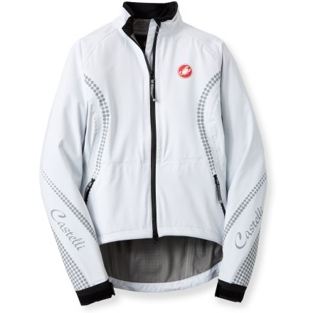 Fitness Offering waterproof, breathable protection, the lightweight Castelli GDP Rain bike jacket packs a heavy punch of style for cyclists who want to look as good as they feel while riding. 3-layer waterproof, breathable laminate blocks wind and rain while letting body heat escape, keeping you comfortable even while working hard. 100% taped seams ensure complete protection. Back vent encourages airflow so you won't overheat; underarm zippers provide easy ventilation. Sleeves with adjustable, rip-and-stick cuffs seal in warmth and keep rain from leaking in. Hand pockets easily store small items such as energy gels, phone, wallet or small media player. Droptail hem with drawcord ensures full coverage in the riding position and a close, adjustable fit to seal in warmth. Reflective accents on the Castelli GDP Rain bike jacket increase visibility during early morning or twilight commutes. Closeout. - $49.73