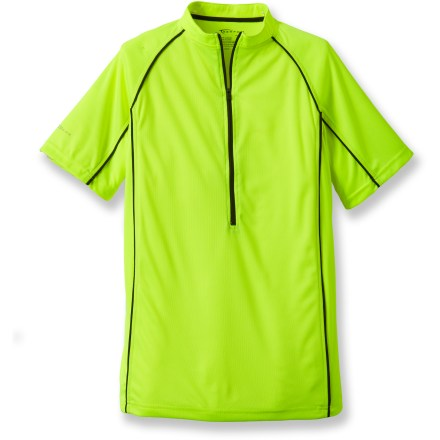 Fitness Be seen on the road with the men's Serfas Summit High-Visibility bike jersey. Ultrabright, textured polyester wicks moisture and feels soft. Half-zip style makes for easy on/offs and ventilation control. 9-in. zippered back pocket stores riding essentials. Closeout. - $19.73