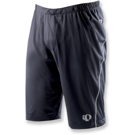 Fitness Great for wet days that take you to the muddy bike trail, the Pearl Izumi ELITE Barrier WxB (waterproof-breathable) bike shorts offer protection during warm-weather activities. 2-layer waterproof, breathable laminate keeps the rain from getting in while allowing body heat to escape; fabric dries quickly for easy wash-and-wear. 100% taped seams ensure complete protection. Elastic waistband with adjustable drawcord allows a snug, personalized fit. Internal, adjustable cuffs at leg opening let you pull the fabric in, preventing it from flapping as you cruise downhill. Reflective details increase visibility in low light. Closeout. - $43.73