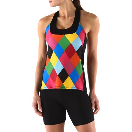 Fitness The Moxie Jester T-Back bike jersey has all the function you've come to expect in cycling jerseys, but now with lots more style. Ergonomic seams prevent chafing, moisture-wicking fabric moves sweat away when you're working hard. Built-in support bra with removable cups. 3 pockets on back for necessities while biking. - $39.93