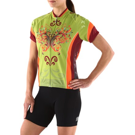Fitness The bike-loving folks at It's in my Heart have designed the Butterflies are Free bike jersey to keep your comfortable and enjoying the freedom that only 2 wheels can give. Quick-drying and moisture-wicking polyester jersey breathes well to keep you comfortable during exertion. Full-length front hidden zipper provides easy on/off and ventilates instantly. Mesh side panels keep things breezy when you're pedaling hard. 3 rear pockets. The It's in my Heart butterflies are Free bike jersey is form-fitting without being too tight. - $55.93