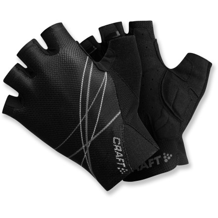 Fitness With a comfortable fit and gel padding, the Craft Performance fingerless bike gloves take the edge off time in the saddle, whether a weekend group ride or a solo trip down yonder. Mesh across back of hands offers great breathability and moisture-wicking performance to enhance comfort; soft terry patch is great for wiping a sweaty brow. Elasticized inserts around wrists offer a snug and comfortable fit. Synthetic leather palms feature gel padding to increase comfort and relieve pressure. Pull-loops help make it easier to pull the Craft Performance fingerless bike gloves off of your hands. - $21.83