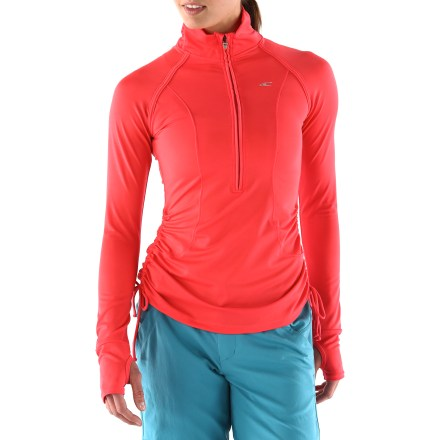 Fitness Fun drawcords, UV protection and fabric that dries in 30 min. make the O'Neill Amity Half-Zip Pullover rashguard an easy choice when headed to the water. Quick-drying fabric helps protect from UV light with a UPF rating of 50+. Half-length zipper makes it easy to pull the rashguard over a swimsuit top or base layer. Looped hem drawcords cinch around waist and add a nice touch of style. O'Neill Amity Half-Zip Pullover rashguard includes reflective logos to increase visibility in dim light. - $70.00
