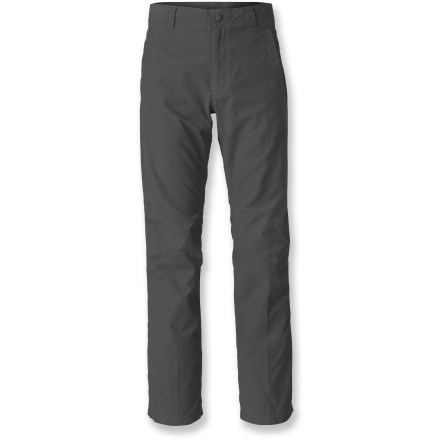 Climbing The North Face Granite Dome pants combine the comfort of cotton with the performance of nylon so you can take them on climbing endeavors with complete confidence. Fabric blend features a cotton face with a smooth nylon backing for ease of movement. With a UPF 50+ rating, fabric provides excellent protection against harmful ultraviolet rays. Gusseted crotch allows unrestricted range of motion. Welted hand pockets and rear patch pockets hold your essentials. The North Face Granite Dome pants have a harness-friendly design and an active fit. - $37.83