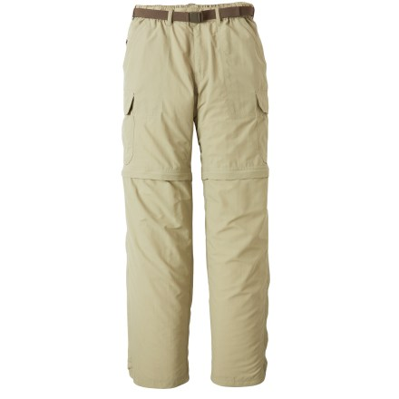 Camp and Hike The REI Sahara Convertible pants with No-Sit Zips feature an innovative new design that makes converting from pants to shorts and back again easier than ever before! Side zippers run the full length of the lower legs; together with thigh zippers they allow quick conversions without requiring wearer to sit down. They also preclude the need to slip lower legs sections over messy boots when converting from pants to shorts along a muddy trail. Color-coded thigh zippers help you easily tell the right leg from the left leg when converting back to pants. Lightweight nylon fabric dries quickly, resists pilling and is easy to pack away in a backpack. With a UPF 50+ rating, fabric provides excellent protection against harmful ultraviolet rays. Fabric is treated with a durable water repellent finish to repel moisture and stains. Side cargo pockets offer ample space for trail items; also includes front hand pockets, zip coin/security pocket, 1 rear zippered pocket and 1 rear rip-and-stick pocket. Mesh pockets bags enhance ventilation and allow water to drain. Gusseted crotch facilitates freedom of movement for increased comfort. Included webbing belt can be completely removed if desired. Elastic waist helps secure the fit. - $31.83