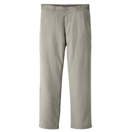 Camp and Hike You asked and we listened! The men's REI Adventures pants with a 36 in. inseam have been spiffed up with new colors, an updated fit and a center gusset to meet your traveling needs like never before. Named after our own travel company, the REI Adventures pants offer quick-drying convenience and travel-savvy details that are a perfect match for active lifestyles. Revised fit gives you just the right amount of room through the legs to maintain comfort without compromising your style; center gusset eases movement on and off the trail. Lightweight peached nylon fabric wicks moisture and dries quickly to keep you comfortable while on the go; fabric has a soft, smooth feel. With a UPF 50+ rating, fabric provides excellent protection against harmful ultraviolet rays. Secure your travel and trail essentials in the 2 side-seam zippered pockets; front hand pockets and zippered back pockets provide additional storage. Hand pockets are constructed to prevent items from falling out while you're seated. - $24.83