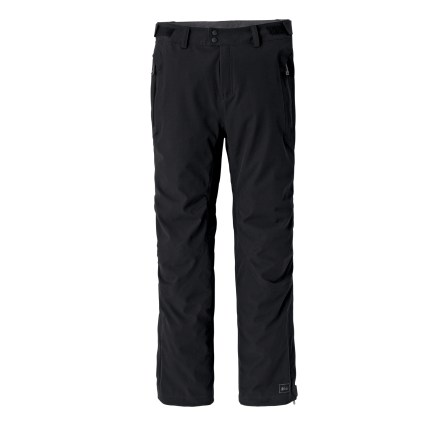 Climbing The REI Taku pants, in a 30 in. inseam, are a versatile option for your backcountry pursuits. Waterproof, breathable stretch fabric provides the ultimate in comfort and the ultimate in protection. A great selection for aerobic activities in cold conditions when you may encounter windy, wet weather; think alpine touring, climbing, snowshoeing and spring skiing. Seam-taped, breathable 3-layer REI Elements(R) laminate blocks rain and winds to 60 mph; high-wear areas are reinforced to resist abrasion. 4-way stretch fabrics, plus the athletic fit, articulated knees and gusseted crotch allow unrestricted movement. Internal back elastic belt adjusts waist circumference with shaped rip-and-stick tabs; zip fly and snap closure. Soft, brushed tricot waistband lining wicks moisture away from body. Thigh vents allow air movement and help regulate body temperature. Lower leg zippers with 3 in. wide gussets fit easily over footwear; hem drawcords cinch the fit. 2 hand pockets feature welded, water-resistant zippers; rear pocket has flap closure. - $83.83