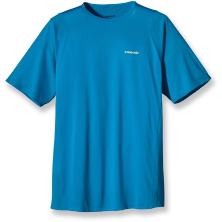 Fitness The cooling comfort of the Patagonia Air Flow T-shirt makes running in hot weather much more comfortable. Quick-drying and moisture-wicking recycled polyester mesh fabric offers UPF 15 sun protection. Mesh underarm panels enhance breathbility; offset seams reduce chafing. Natural odor control helps keep funky scents at bay. Reflective logo on chest and center back enhance visibility. The Patagonia Air Flow T-shirt offers a slim fit. 100% recyclable through Patagonia's Common Threads Recycling Program-simply return your worn out item to Patagonia. - $55.00