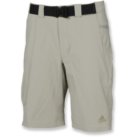 Camp and Hike The adidas Hiking Flex shorts are ideal for treks in the woods, a stroll through the park and everyday wear. Lightweight, quick-drying nylon is blended with spandex for ample stretch and wrinkle resistance. Waistband features an adjustable belt for a secure fit; zip fly with snap closure. 2 hand pockets and 1 small security pocket, 1 side cargo pocket and 1 rear pocket, all with zip closures, let you securely stash a few everyday essentials. Closeout. - $48.73