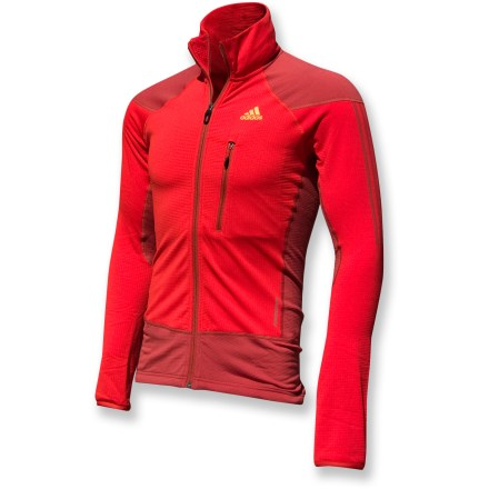 Camp and Hike The adidas Terrex Swift Speed jacket is built for high-energy activities, whether you're hiking, running or enjoying a brisk morning walk. Polyester/spandex blend fabric moves with you; waffle fleece lining adds warmth and softness. Flatlock seams offer flexibility and comfort. Zippered chest pocket holds small items secure. Drawcord hem keeps the cold out. Closeout. - $38.73