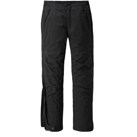 Camp and Hike At a great price, the women's REI Alpine Lakes rain pants in petite sizes offer waterproof, breathable protection for hiking, backpacking and other wet-weather pursuits. Seam-sealed REI Elements(R) nylon shell provides moderate stretch and blocks wind to 60 mph. Lining combines nylon taffeta, which slides easily over layers, with highly breathable, moisture-wicking polyester mesh in key areas. Back elastic waist and side rip-and-stick tabs adjust the fit for comfort. Full-length side zippers offer ventilation control and easy removal over footwear; scuff guards protect inner ankle fabric from abrasion. Articulated knees improve ease of movement, and are reinforced for durability. 2 zippered front pockets and 1 zippered back pocket. Fabric in the Alpine Lakes women's rain pants is designed to resist snagging and pilling, and it dries in under 4 hours. - $99.50