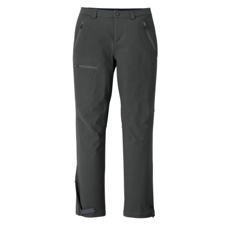 Camp and Hike The REI Acme women's soft -shell petite pants perform in cold weather. They provide a great microclimate for movement-intensive outdoor sports. - $169.00
