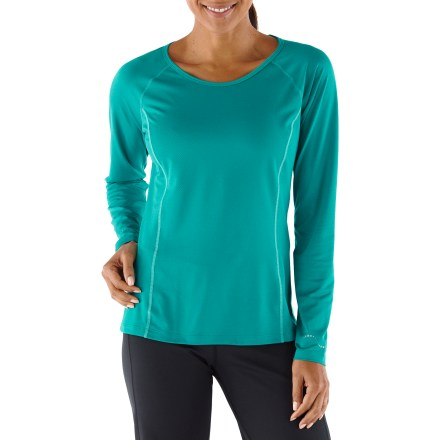 Fitness Pick up the pace and enjoy the comfort of the plus-size REI Fleet long-sleeve T-shirt. Moisture-wicking fabric dries fast so you won't feel chilled when a breeze kicks up. Fabric provides UPF 50+ protection from harmful solar rays. Mesh inserts along back enhance ventilation. Reflective details increase visibility in low light. Flatlock seams reduce chafing and dropped rear hem increases coverage. The plus-size women's REI Fleet long-sleeve T-shirt offers an active fit that moves with you during workouts. - $36.50
