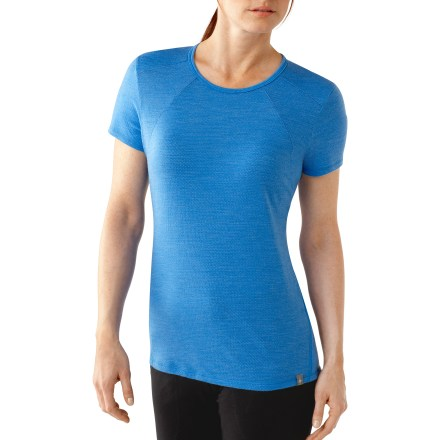 Fitness You'll really appreciate the SmartWool Cortina Tech T-shirt while working up a sweat. It feels soft, wicks moisture and resists odors thanks to the natural properties of merino wool. Merino wool and polyester blend fabric wicks moisture to help maintain a comfortable temperature when you're on the move. Fabric provides UPF 25 sun protection, shielding skin from harmful ultraviolet rays. Flatlock seams minimize chafing and increase comfort. Unlike traditional wool, SmartWool items do not itch and can be repeatedly washed and dried without shrinking. SmartWool items are naturally antimicrobial, preventing the funky odors traditionally associated with standard workout wear. The semifitted the SmartWool Cortina Tech T-shirt for women is not too tight and not too loose. - $55.93