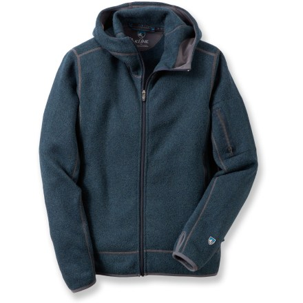 The warm Kuhl Scandinavian hoodie uses soft polyester fleece fabric to fend off cool breezes and keep you happy on chilly days. Alfpaca polyester fleece features multicolored yarns knitted together for an attractive look. Microfleece trim is comfortable next to skin. Zippered stash pocket on the left sleeve keeps small essentials within reach; zippered hand pockets provide additional storage. Kuhl Scandinavian hoodie has thumbholes to secure the sleeves over the back of hands for warmth. Closeout. - $59.93