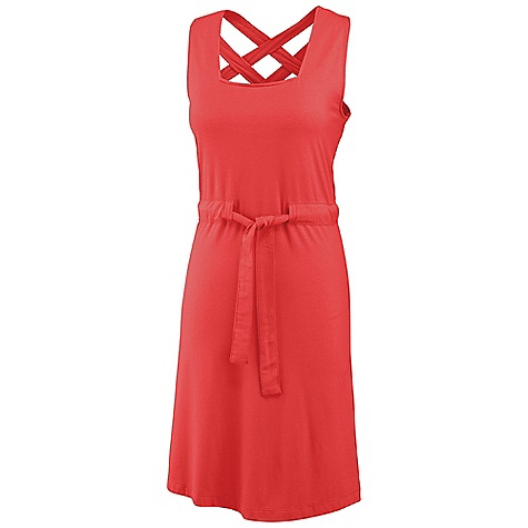 Entertainment Free Shipping. Merrell Women's Artemisia Dress DECENT FEATURES of the Merrell Women's Artemisia Dress Strappy, criss-cross back celebrates sunshine and summer Wide self-fabric draw-tie waist enhances silhouette Metal bar tab logo The SPECS High point shoulder to hem: 37in. 100% Polyester, Rayon, Spandex Blend - $64.95
