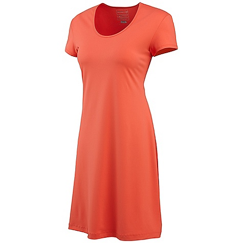 Entertainment Merrell Women's Emery Dress DECENT FEATURES of the Merrell Women's Emery Dress Offered in solids and our IKAT print Hemline falls just at knee Cap sleeve Fitted at bust with slight A-line design The SPECS Center Back Length: 36in. 90% Polyester, 10% Elastane - $48.95