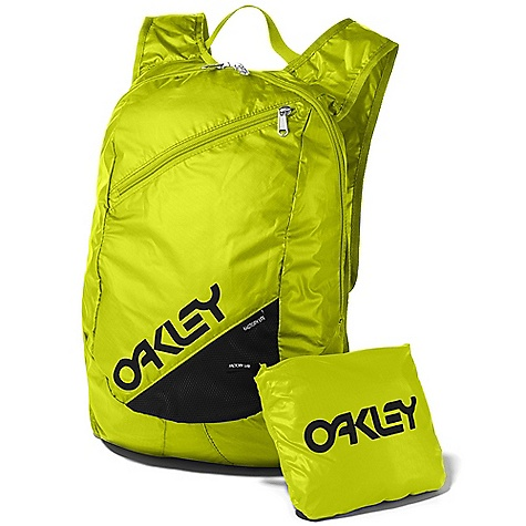 Oakley Women's Factory Lite Backpack DECENT FEATURES of the Oakley Women's Factory Lite Backpack Packable into integral pocket for no-hassle carrying Exterior front pocket with mesh detail for breathable storage Adjustable shoulder straps offer a custom feel 15L Capacity 100% Nylon - $35.00