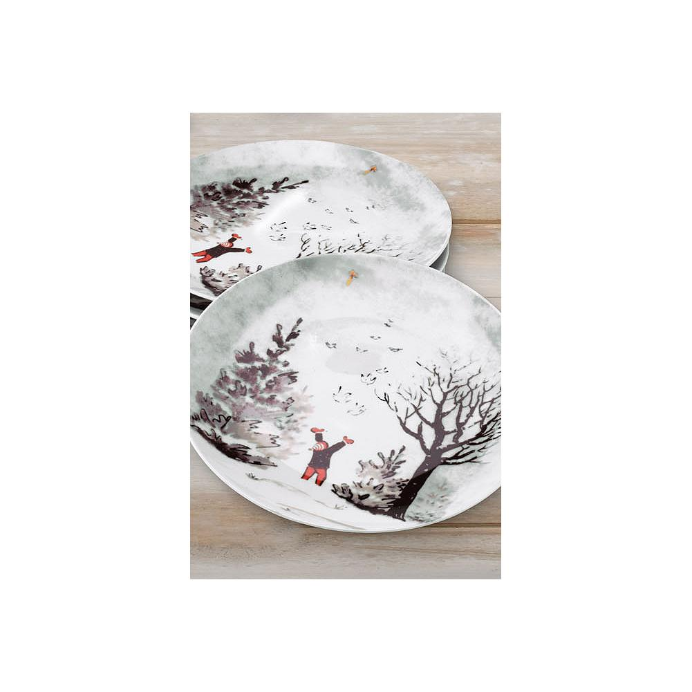 Entertainment Eddie Bauer Stine Snow Day Dessert Plate Set - These beautiful porcelain dessert plates depict a joyful snow scene reproduced from one of Stine Bauer's hand-painted, one-of-a-kind holiday keepsake cards. - $19.99