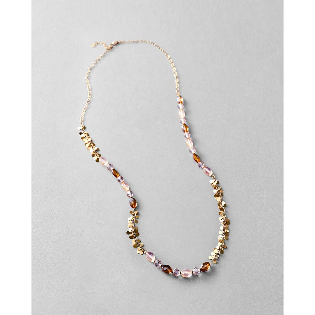 Entertainment Eddie Bauer Metal & Stone Paillette Necklace - Acrylic and glass seed beads intertwine with gleaming paillettes. Lobster-claw closure. Brass. - $19.99