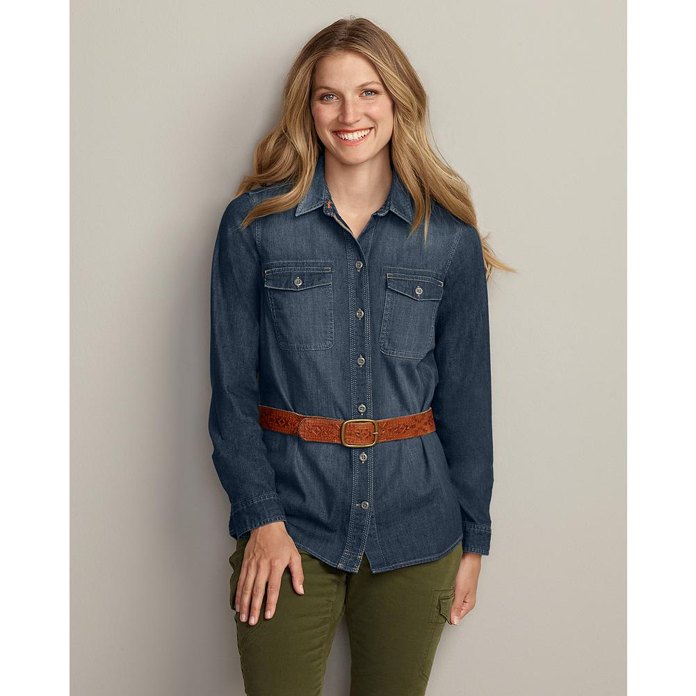 Eddie Bauer Long-Sleeve Denim Shirt - A fall wardrobe must-have, our denim shirt is made of sturdy yet soft cotton that's sandblasted for a worn-in, vintage look. Shirttail hem and two back seams for feminine shaping. Two button-through chest pockets. Imported. - $29.99