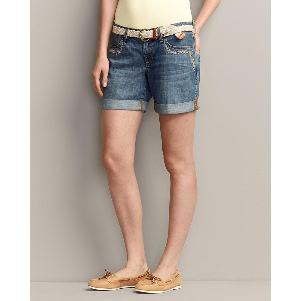 Eddie Bauer Boyfriend Vine Embroidered Denim Shorts - Fits like a favorite pair of his, but made just for you. Cotton with added spandex for stretch, our Embroidered Boyfriend Shorts can be cuffed or unrolled depending on your summer destination. Sits below waist; eased through hip, relaxed leg. - $19.99