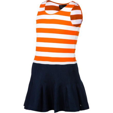 Entertainment Your girl doesn't need to be working on her serve to wear the cute and sporty A For Apple Girls' Tennis Dress. It's made with breathable cotton to keep her cool and comfortable on hot summer days. - $57.95