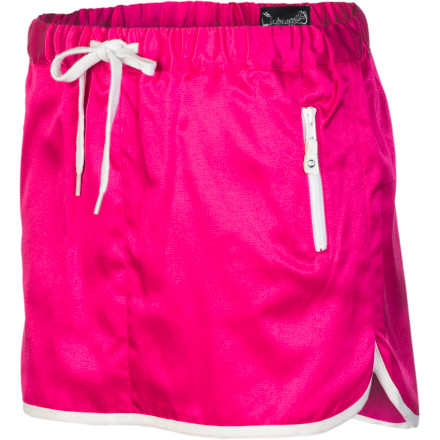 Whether your girl's headed to her first day of tennis lessons or just going to a playdate in the park, make sure she's cool and comfy in the A For Apple Jave Varsity Girl's Skirt. It has a light polyester fabric for a breezy feel, and zippered hand pockets secure extra tennis balls (or candy). - $37.95