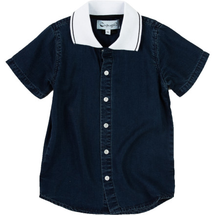 Entertainment Next time you need to dress your reluctant little guy for a fancy occasion, put him in the A For Apple Tencel Polo Boys' Short-Sleeve Shirt and watch his discomfort fade away. The Tencel fabric has a super-soft feel to keep him happy, and it's wrinkle-resistant to keep him looking sharp. - $44.95