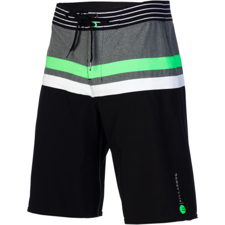 Surf The Billabong Muted Long Board Short features a super-fresh contrast stripe pattern, water-repellent coating, and lightweight, super-stretchy Zero Gravity Platinum X Quad fabric for more comfort and less cling. - $59.45