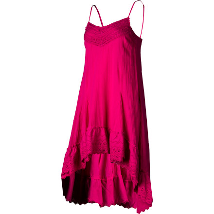 Surf The light, lacy, and summery-breeze Billabong Women's Salt Water Dress has plenty of ethereal beauty fit for the beach or a night out. Ruffles, lace, embroidery, scooped back, and a high-low hemline give it oodles of sweet, sexy appeal. - $52.09